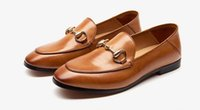 Wholesale Brown Loafers Heels - Women New fashion loafer horsebit flat shoes leather casual shoes