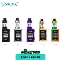 Wholesale Q Batteries - Original Smok Qbox Kit e cigarette starter kit 50w Q-box Vape Mod 1600mah Battery with TPD 2ml TFV8 Baby Tank VS ProColor Kit