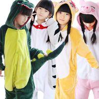 Wholesale Panda Costumes For Girls - Wholesale Unicorn Stitch Panda Unisex Flannel Hoodie Pajamas Kids Costume Cosplay Animal Onesies Sleepwear For Boy Girl Child