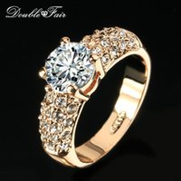 Wholesale Fair Gift - Double Fair Engagement Wedding Rings Cubic Zirconia Rose Gold Plated CZ Stone Ring Jewelry Gift For Women anel Wholesale DFR105