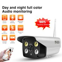 Wholesale Ip Outdoor Camera Sd Card - Outdoor Wifi IP Camera 1080P Full-color Night Vision Home Security Bullet Camera Audio monitoring Wireless CCTV Camera SD CARD ann