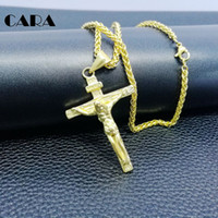 Wholesale Stainless Steel Crucifix Necklace Men - Cross INRI Crucifix Jesus Piece Pendant & Necklace Gold Color Stainless Steel hip hop Men Chain Christian Jewelry Gifts Vintage CAGF0147