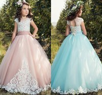 Wholesale Little Girls Champagne Vintage Dress - Cap Sleeves Lace 2017 Flower Girl Dresses Tulle Lace Up Vintage Tulle Little Girls Pageant Birthday Gowns