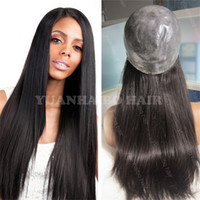 Wholesale Thin Lace Wigs - Hot selling 1b silky straight malaysian virgin human hair silicone full thin skin wigs free shipping
