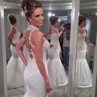 Wholesale Inexpensive Tulle Wedding Dresses - Stunning 2017 Sheer High Neck Mermaid Wedding Dress Illusion Back Pearls Lace Appliques Trumpet Bridal Gowns Custom Made Inexpensive
