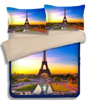 Wholesale White Queen Size Quilt - New 3d scenery 3 4pcs bedding set Eiffel Tower bedclothes sets twin queen king size sheet quilt cover duvet cover pillowcase Home Textiles