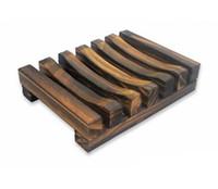 jabón vintage al por mayor-Jabón de madera de la vendimia plato plato de la bandeja titular de los titulares de plato de jabón de madera Bathroon ducha lavado de manos LLFA