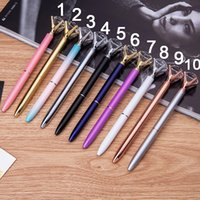 Wholesale Silver Rings Pink Diamonds - Newest Big carat diamond Crystal Pen Gem Ballpoint pen ring wedding Office Supplie Metal ring roller ball pen Rose gold silver pink