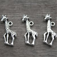 Wholesale Silver Charms Deer Wholesale - 25pcs--Giraffe Charms,Antique Tibetan silver tone Animal Charm Pendants,deer charm pendants connector 40x11mm