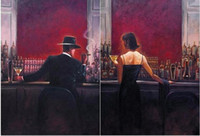 Wholesale Canvas Art Figure - Framed 2pcs of the cigar bar Men and women,Pure Hand Painted Pop Art Oil Painting Quality Canvas.Multi Sizes Free Shipping a-sanshui