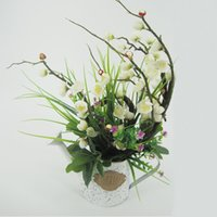weiße topfpflanze künstlich großhandel-Künstliche Pflanzen mit verzinktem Teller Töpfe grüne Bonsai weiß gewaschen Topfpflanze für Hochzeit Urlaub besonderen Tagen Home Decor 125 -1005