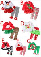 Wholesale Legging Pant Dress - 7 Styles Christmas Clothing 2PCS Outfits Girls Xmas Snowman Pattern Ruffles Dress Tutu Pants Legging Suits Pre School Long Clothing Sets