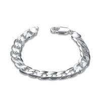 herren silberne bordstein armband groihandel-Fashion Herren kubanischen Gliederkette Armband versilbert Kupfer Curb Link 10mm Breite 7,87