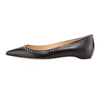 Zandina Womens Ladies Handmade Hotsale Moda Mini Spikes Pointy Party Dress Prom Flats Pompe Scarpe Nero opaco