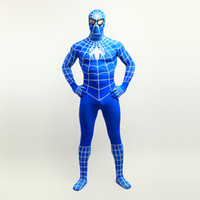 Wholesale custom cosplay for sale online - Hot Sale Blue Superhero Spider man Cosplay Full Body Sexy Costumes Lycra Spandex Zentai Suit For Halloween