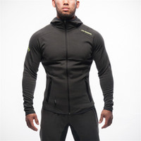 Wholesale Cool Men Sweaters - 2017 outdoor clothes muscle doctor fitness brothers men spring and autumn running cool Slim running sports hood sweater jacket M0260