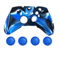 Wholesale Protective Caps White - Wholesale 3 in 1 GLOW in Dark Controller Protective Case for MicroSoft Xbox One with 4 anti-slip caps Blue+black+white
