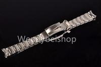verriegelnder handgelenkstahl großhandel-CARLYWET 20 21mm massives gebogenes Ende Edelstahlverschraubungen Armbanduhr Armband Armband Gleiten Flip Lock Faltschließe Schnalle