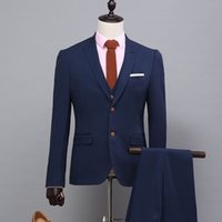 Wholesale Shiny Slim Fit Suits - Wholesale- Hot Men's Suits Slim Fit Royal Blue Mens Suit Wedding Groom Single Breasted Flat Cutton Fabric Shiny Business Formal Dress