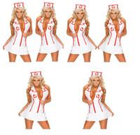 Wholesale Sexy Nurses Dress Uniform - Sexy lingerie female nurse Costume uniforms temptation nightclubs modeling dress game Adult Women Halloween Outfit Fancy Dress New