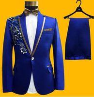 Wholesale straight wedding dress short sleeves - Sequin stag blazer men formal dress latest coat pant designs suit men blazer masculino slim fit marriage wedding suits for men's