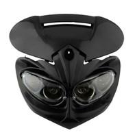 Wholesale Street Fighter Motorcycle Head Light - 2017 Newest Head Light fairing motorcycle dual sport lamp street fighter black