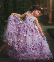 imágenes de la flor del bebé niñas al por mayor-Por encargo Imagen Real 100% Light Purple Flower Girl vestidos bordados hechos a mano Flower Girls vestidos del desfile de encaje hasta bebé vestido de comunión