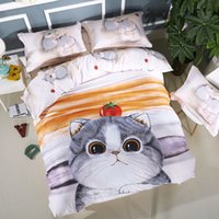 Wholesale Bear King Comforter - Cute Cat Rabbit Elephant Teddy Bear Bedding Set Queen King Size Cotton Cartoon Printed Duvet Cover Bed Sheets Children or Adults