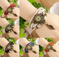 vintage bracelet watch deri kızlar toptan satış-Yeni türleri Vintage Yaprak kolye Kuvars Bilezik Bileklik Retro Güzel Bayan Kız Örgü Wrap Etrafında Deri Izle Mevcut Kaynağı Sıcak Satış