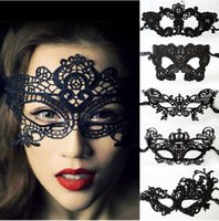 Wholesale Masquerade Masks For Ball - Halloween Sexy Masquerade Masks Black White Lace Masks Venetian Half Face Mask for Christmas Cosplay Party Night Club Ball Eye Masks