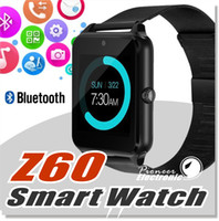 Wholesale stainless steel cards - Bluetooth Smart Watch Phone Z60 Stainless Steel Support SIM TF Card Camera Fitness Tracker GT08 GT09 DZ09 Smartwatch for IOS Android