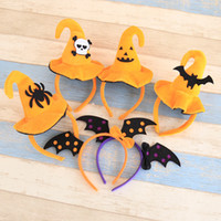 Wholesale Bands For Head - Halloween Style Horror Pumpkin Bats Hat Head Hair Bands For Adult&Kids Elasticity Headbands Hair Accessories Costume Party Dressing Supplies