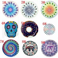 Wholesale 34 design round mandala beach towel pineapple beach towels Mandala Tapestries American flag elephant Bikini Cover up blanket C001