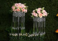 Wholesale Led Acrylic Stands - 10pcs lot 70cm Tall Acrylic Crystal Wedding Centerpiece Silver Wedding Table Centerpiece Road Lead Flower Stand Party Decoration