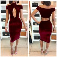 Wholesale Velours Dress - High Quality Women 2017 Spring Sexy Fashion Sleeveless neck criss Evening Party Mid Velvet Dress Robe Velours Strap Bodycon Party Dresses