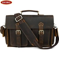 Atacado- Cool Vintage Cowhide Men Briefcase Genuine Leather Multifunction Tote And Crossbody Bag Fit For 13 Inch Laptop PR081088