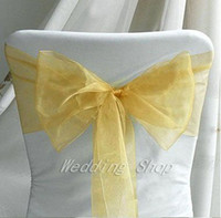 Wholesale Gold Color Wedding Chair Covers - 25pcs Gold color 20cm x 275cm Wedding Favor Sheer Organza Chair Covers Sashes Ribbons Bow Party Banquet Event--Tracking Number