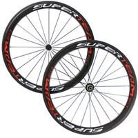 Wholesale Carbon Fiber Road Bike Rims - Superteam 50mm Carbon Wheelset Bicycle Rims Carbon Fiber Bike Road Wheel 3K Glossy Clincher Free Shipping
