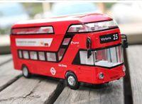 Wholesale Miniature Sound Cars - 1:32 Double-decker tour bus Metal Alloy Diecast Toy Car Model Miniature Scale Model Sound and Light Emulation Electric Car