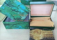Wholesale paper file box - freeshipping gift box 116610 116660 116520 116710 Watches box Perpetual Brand Watch gift Box Papers File Card Green Gift Boxes Use President