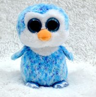 Atacado- TY Beanie Boos sky-blue Penguin Big eyes Stuffed Plush baby doll 15cm Soft Mini adorável troll boneca brinquedo brinquedo China venda quente