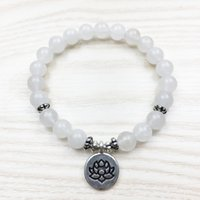 Wholesale agate sale - SN1012 Hot Sale Women`s Bracelet White Lotus Bracelet Calming Agate Jewelry Healing Intention Mala Bracelet Fashion Jewelry Wholesale
