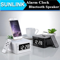 LCD Digital FM Radio despertador Music Dock Charger Station Audio portátil de música Bluetooth inalámbrico estéreo altavoz para iPhone 5 5s 6 6s más