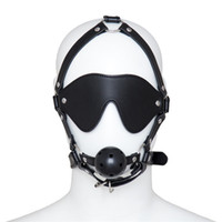 Wholesale Breathable Gag - Snazzy Ball Gag Mask Headgear Bite Gags Blindfold Leather Mouth Flail Breathable Honeycomb Mouth Gag Bondage Belt Slave Trainer Sex Toys