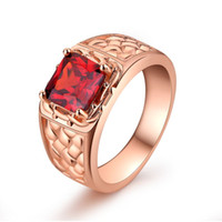 Wholesale Natural Ruby Gold Ring 18k - Fashion Womens Jewelry 18K Rose Gold Plated Ring Natural Gemstones Ruby Sapphire Birthstone Bride Wedding Engagement Cross Rings Gifts A34