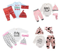 Wholesale hooded bodysuits - Baby Outfits Suits Newborn baby clothing Romper+Pants +Headband 4 pcs Bodysuits Baby Girl Clothing Sets Kids Christmas Clothes