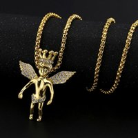 Wholesale Crown Necklace For Women Gold - New Arrivals Hip Hop 18K Gold Plated Crown Angel Wing Pendant Necklace Full Crystal Fashion Jewelry for Men and Women