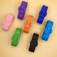 Wholesale Silicone Bracelet Mosquito - Smile Face Mosquito Repeller Bracelet Silicone Strap Pure Natural Repellent Outdoor Camping Baby Clap Circle 500pcs OOA2122