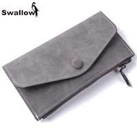 Wholesale Womens Scrubs - Wholesale- Swallow Scrub Matte Long Wallet Women Luxury Brand With 6 Card Holders Womens Wallets And Purses Leather Clutches Solid Zipper