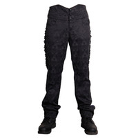 Wholesale Lace Up Gothic Pants - Wholesale- Devil Fashion Victorian Gothic Black Soft Male High Waisted Trousers Man Retro Lolita Lace Up Long Pants Embroidered Detailing